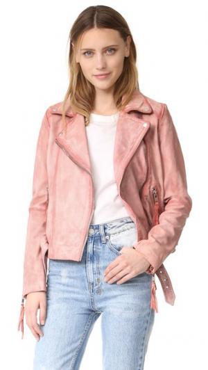Розовая кожаная байкерская куртка Free People. Цвет: розовый