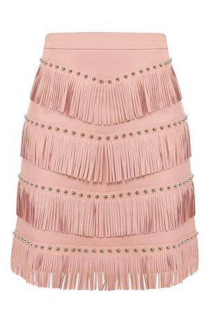 Кожаная юбка DROMe. Цвет: розовый