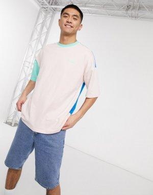 Oversized-футболка со вставками -Синий Hummel