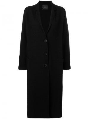 Однобортное пальто прямого кроя Roberto Collina. Цвет: черный