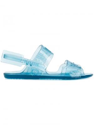 Прозрачные сандалии с логотипом Off-White. Цвет: синий