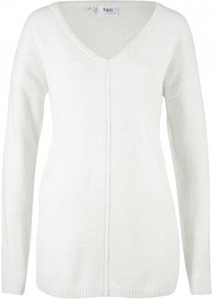 Пуловер с V-образным декольте bonprix. Цвет: белый