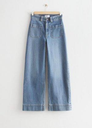 Широкие укороченные джинсы &Other Stories. Цвет: синий