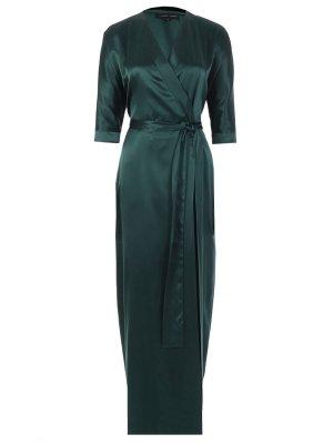 Шелковое платье-maxi с поясом TEREKHOV. Цвет: зеленый