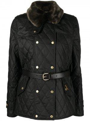 Стеганая вощеная куртка Elmis Barbour. Цвет: черный