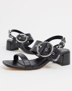 Черные босоножки на блочном каблуке с пряжками -Черный Topshop