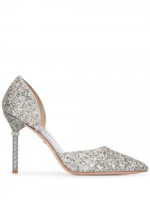 Туфли-лодочки Ozara с блестками Badgley Mischka. Цвет: серебристый