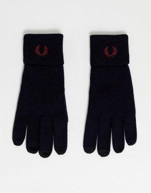 Темно-синие перчатки для сенсорных экранов из 100% мериносовой шерсти SUIT 1 Fred Perry