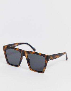 Черные черепаховые солнцезащитные очки в D-образной оправе -Черный River Island