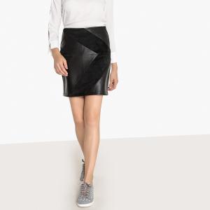 Короткая юбка из двух материалов BEST MOUNTAIN. Цвет: черный