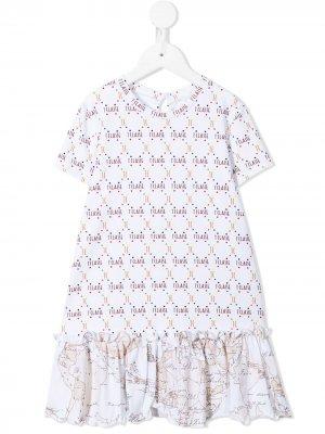 Платье с приспущенной талией и монограммой Alviero Martini Kids. Цвет: белый