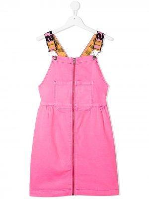 Джинсовый сарафан с логотипом Stella McCartney Kids. Цвет: розовый