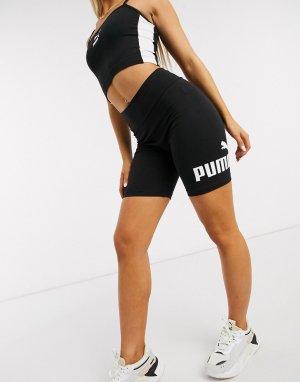 Черные шорты-леггинсы с большим логотипом -Черный Puma