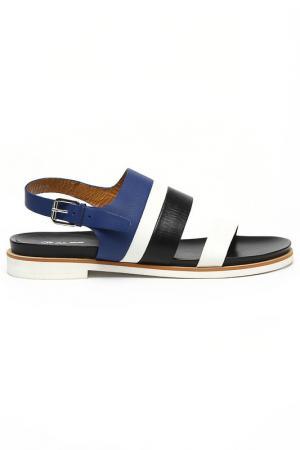 Туфли летние открытые Alba. Цвет: белый, синий, черный