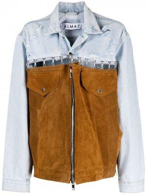 Джинсовая куртка со вставками Almaz. Цвет: синий