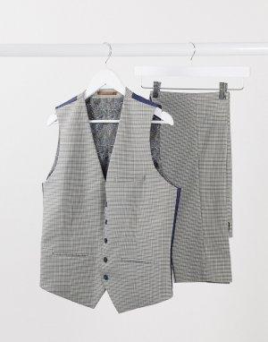Коричневый приталенный жилет в ломаную клетку Burton Menswear