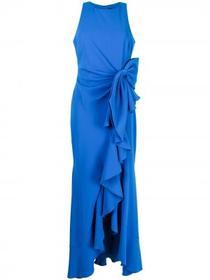 Ruffle-trimmed maxi dress Badgley Mischka. Цвет: синий