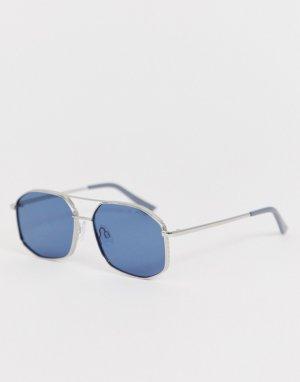 Синие шестиугольные солнцезащитные очки AJ Morgan. Цвет: синий