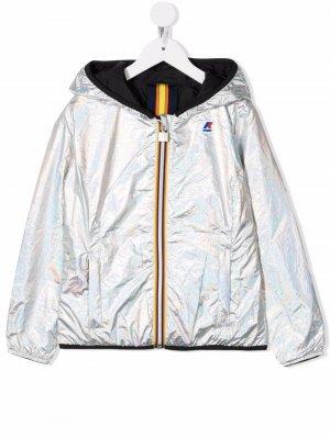 Logo-print hooded jacket K Way Kids. Цвет: серебристый