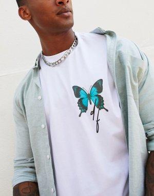 Белая свободная футболка с принтом бабочки -Белый ASOS Dark Future