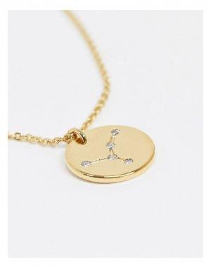 Позолоченное ожерелье с гравировкой созвездия Рака на подвеске Z for -Золотистый Accessorize