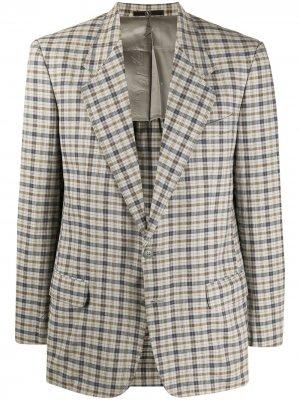 Клетчатый пиджак 1980-х годов Valentino Pre-Owned. Цвет: серый