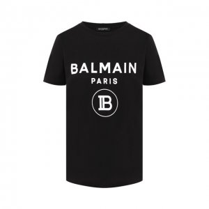 Хлопковая футболка Balmain. Цвет: чёрно-белый