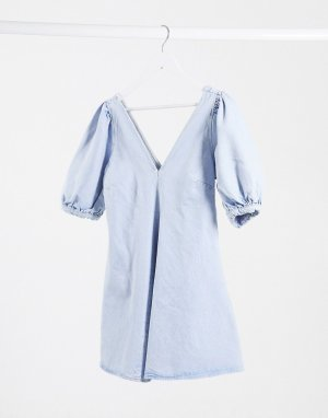 Голубое приталенное джинсовое платье мини с пышными рукавами -Синий ASOS DESIGN