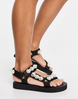 Спортивные сандалии белого цвета с жемчужной отделкой -Белый Glamorous