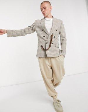 Двубортный приталенный костюмный пиджак в бежевую клетку «Принц Уэльский» с черепаховой цепочкой -Neutral ASOS DESIGN