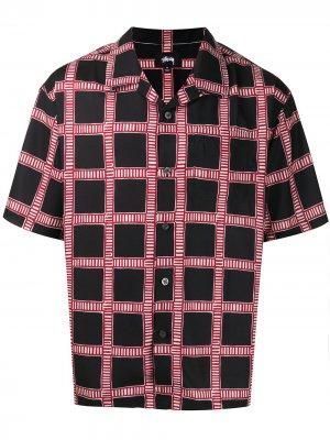 Клетчатая рубашка с короткими рукавами Stussy. Цвет: черный