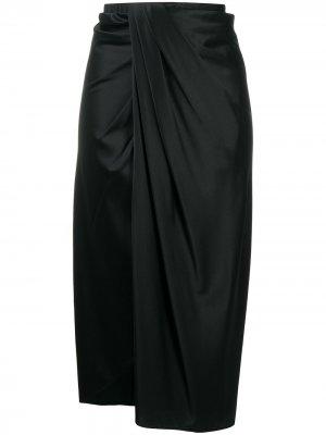 Драпированная юбка миди Helmut Lang. Цвет: черный