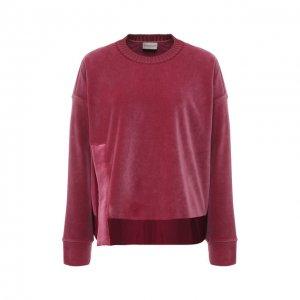 Бархатный пуловер с круглым вырезом Moncler. Цвет: розовый