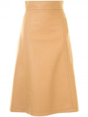Трикотажная юбка А-силуэта Carolina Herrera. Цвет: коричневый