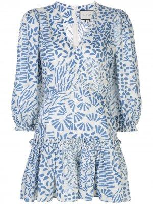 Платье Idony с абстрактным принтом Alexis. Цвет: синий