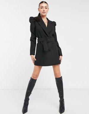 Черное платье-блейзер с объемными рукавами и поясом -Черный Forever U