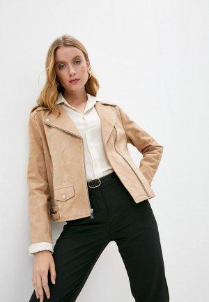 Куртка кожаная Lauren Ralph. Цвет: бежевый