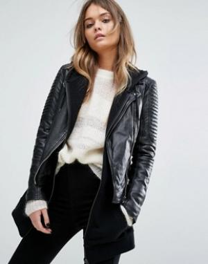Байкерская куртка на молнии -Черный Goosecraft