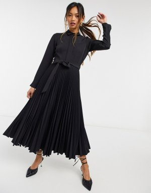 Черное платье-рубашка миди с запахом и завязкой -Черный Closet London