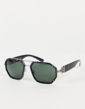 Черные мужские солнцезащитные очки-авиаторы 0VE2228-Черный цвет Versace