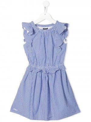 Check-print ruffled dress Ralph Lauren Kids. Цвет: синий