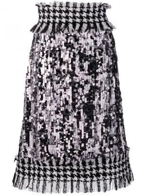 Твидовая юбка с высокой талией Dolce & Gabbana. Цвет: серебристый