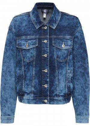 Куртка джинсовая на резинке bonprix. Цвет: синий