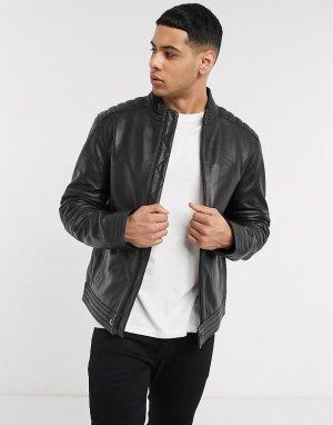 Кожаная байкерская куртка -Черный Calvin Klein