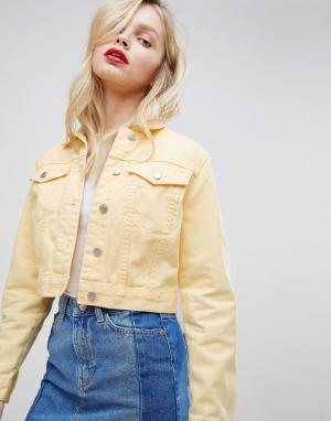 Укороченная джинсовая куртка New Look. Цвет: желтый