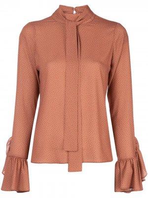 Блузка Odellia с узором в горох Alexis. Цвет: коричневый