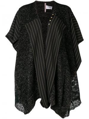 Асимметричное пальто с контрастными панелями Antonio Marras. Цвет: черный