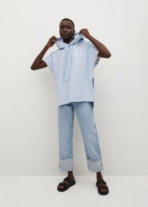 Объёмная хлопковая толстовка - Iria Mango. Цвет: небесно-голубой