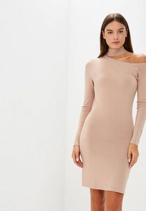 Платье Lost Ink ONE SHOULDER TIE NECK DRESS. Цвет: бежевый