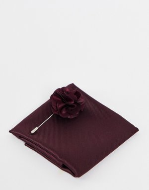 Булавка на лацкан пиджака с цветком и платок-паше -Красный Gianni Feraud